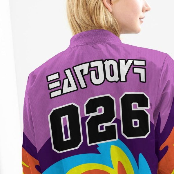 BomberJacketIPokemonPsychicUniform 10 girlmodelback - Anime Jacket