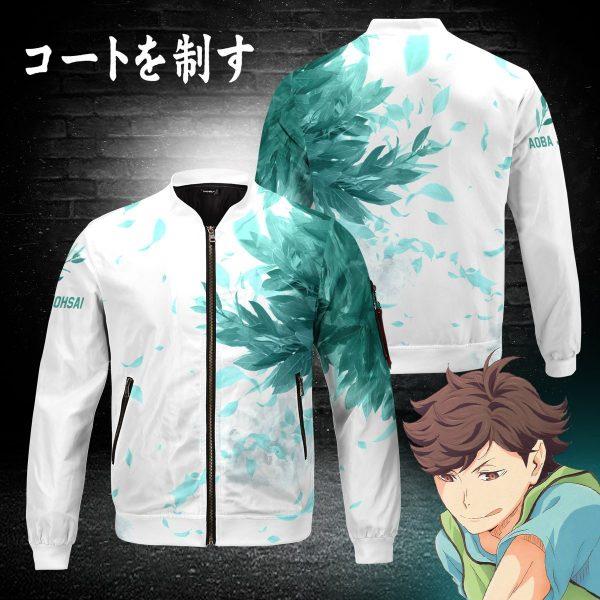 aoba johsai green leaf bomber jacket 144811 - Anime Jacket
