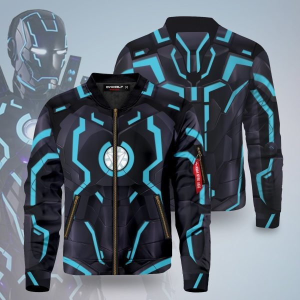 neon tech iron man bomber jacket 218944 - Anime Jacket