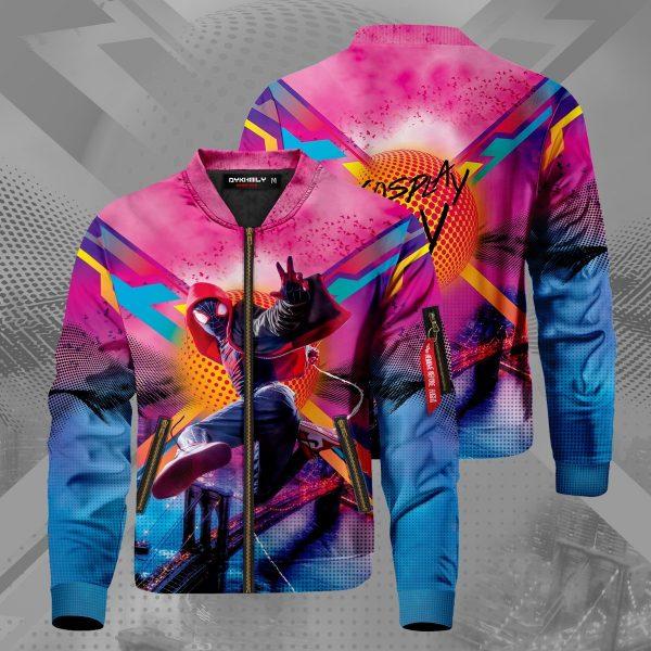 spidey miles signed bomber jacket 332702 - Anime Jacket