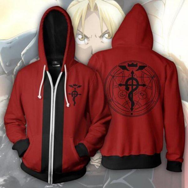 Anime Fullmetal Alchemist Cosplay Costume Edward Elric Alphonse Elric Roy Mustang Unisex 3D Hoodie Sweatshirts Zipper 4.jpg 640x640 4 - Anime Jacket