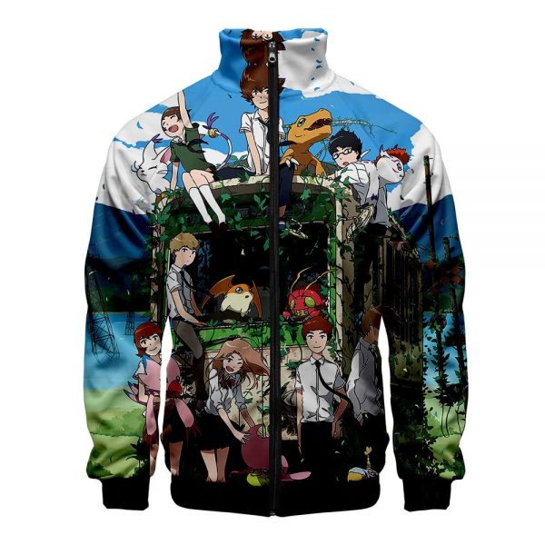 Digimon Fighting Tyrannosaurus Autumn Winter Hoodies Men Sweatshirts Zipper Fitness Hoody Jackets And Coats For Men 2 - Anime Jacket
