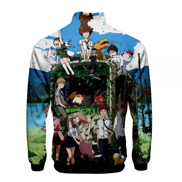 Digimon Fighting Tyrannosaurus Autumn Winter Hoodies Men Sweatshirts Zipper Fitness Hoody Jackets And Coats For Men 3 - Anime Jacket