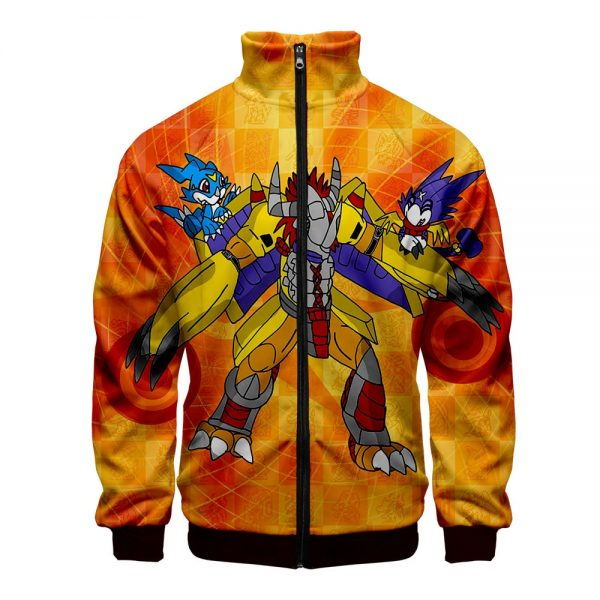 Digimon Fighting Tyrannosaurus Autumn Winter Hoodies Men Sweatshirts Zipper Fitness Hoody Jackets And Coats For Men - Anime Jacket