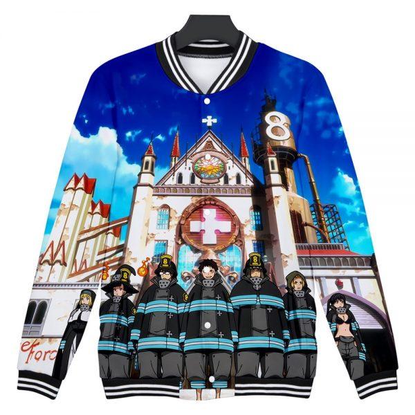 Japan Anime Enen No Shouboutai Fire Force 3D Baseball Jacket Men Bomber Jacket Shinra Kusakabe Baseball - Anime Jacket