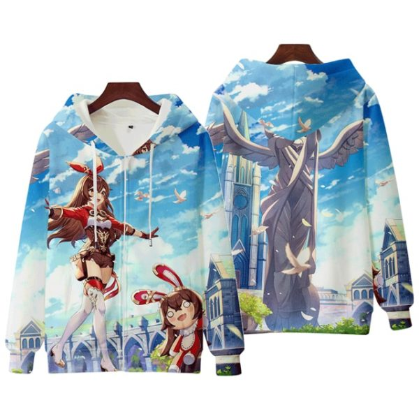 Anime Genshin Impact Keqing Fischl Hooded Sweatshirt Coat Loose Autumn New Men Women Student Harajuku Zipper.png 640x640 2 - Anime Jacket