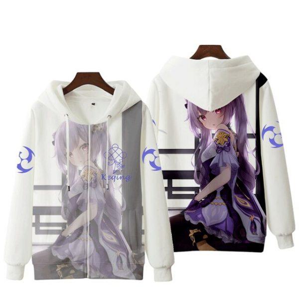 Anime Genshin Impact Keqing Fischl Hooded Sweatshirt Coat Loose Autumn New Men Women Student Harajuku Zipper.png 640x640 4 - Anime Jacket
