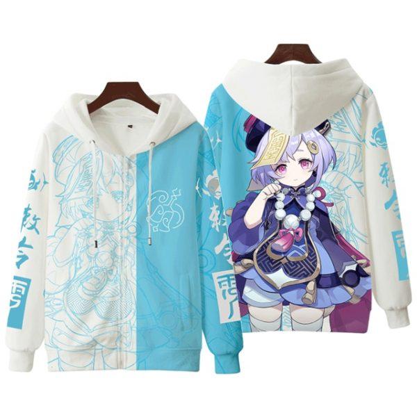 Anime Genshin Impact Keqing Fischl Hooded Sweatshirt Coat Loose Autumn New Men Women Student Harajuku Zipper.png 640x640 5 - Anime Jacket
