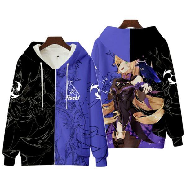 Anime Genshin Impact Keqing Fischl Hooded Sweatshirt Coat Loose Autumn New Men Women Student Harajuku Zipper.png 640x640 8 - Anime Jacket