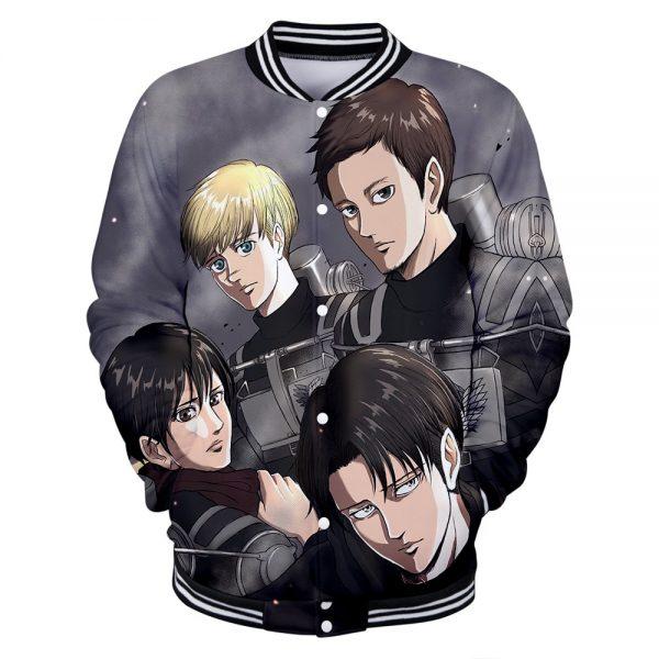 Attack on Titan Clothes 3D Baseball Jackets Women Men Long Sleeve Coat Harajuku Casual Streetwear Unisex 4 - Anime Jacket