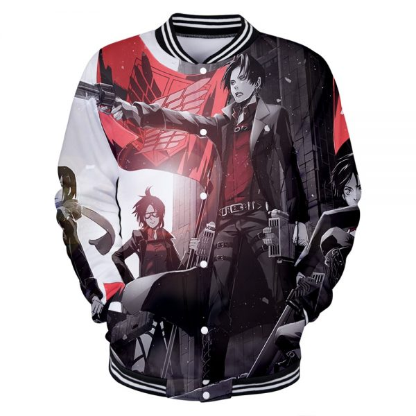 Attack on Titan Clothes 3D Baseball Jackets Women Men Long Sleeve Coat Harajuku Casual Streetwear - Anime Jacket