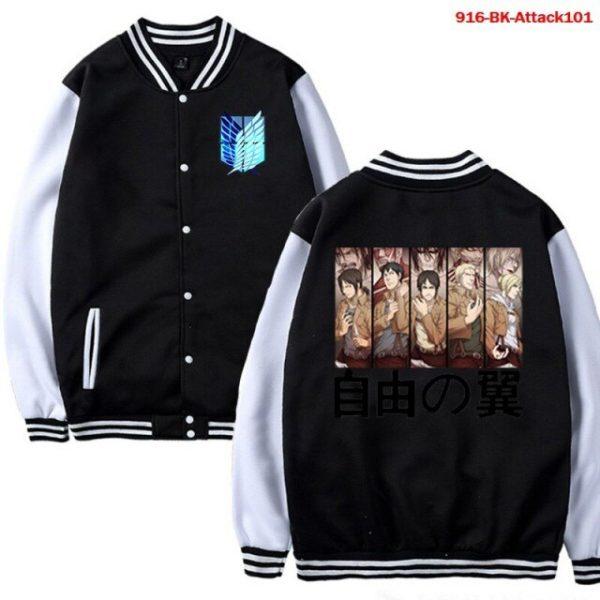Men Jacket Attack on Titan Anime Baseball Jacket Autumn Winter Winter Casual Uniform Hoodie Harajuku - Anime Jacket