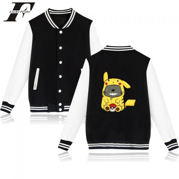 My Neighbor Totoro Baseball Jackets Kawai Cartoon Printing Casual Style Winter Jacket Coat Hayao Miyazaki Studio 4 - Anime Jacket
